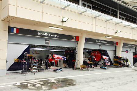 str: SHAKIR, BAHRAIN - APRIL 18: Pit stop garage of STR Ferrari team on Thursday April 18, 2013, Formula 1 Gulf Air Bahrain Grand   Prix 2013  Editorial