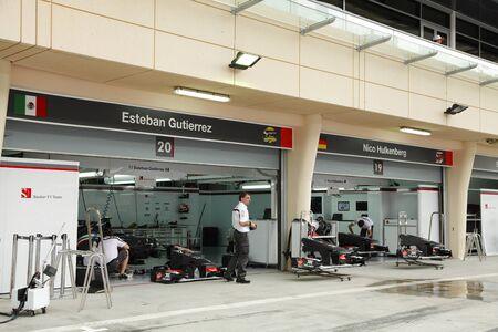 sauber: SHAKIR, BAHRAIN - APRIL 18: Pit stop garage of Sauber Ferrari team on Thursday April 18, 2013, Formula 1 Gulf Air Bahrain   Grand Prix 2013  Editorial