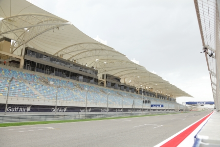 SAKHIR, BAHRAIN-APRIL 18: Main Grandstand at Bahrain International Circuit on April 18, 2013 in Sakhir, Bahrain. The   motorsport venue opened in 2004 that hosts the prestigious FIA Formula 1 race