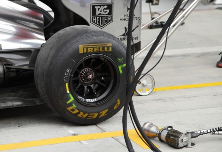 SHAKIR, BAHRAIN - APRIL 18: Closeup of Formula 1 tyre and wheel gun at Team Maclaren Mercedes Pit stop garage on Thursday   April 18, 2013, Formula 1 Gulf Air Bahrain Grand Prix 2013