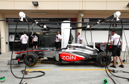 SHAKIR, BAHRAIN - APRIL 18: Pit stop garage of Maclaren Mercedes team on Thursday April 18, 2013, Formula 1 Gulf Air Bahrain   Grand Prix 2013
