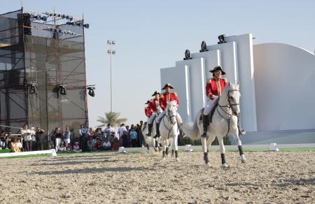 lipizzaner: Sakhir, Bahrain- Nov 26: The world famous Lipizzaner Stallions performs in Bahrain animal production show 25-27 Nov 2010