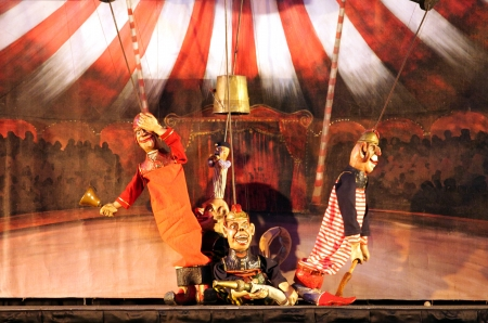 SANABIS, BAHRAIN - JUNE 29  Karromato Czech Marionette theater performs the act  wooden circus  during Bahrain Summer Festival on June 29, 2012 at Exhibition Centre, Sanabis, Bahrain
