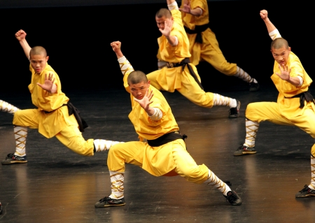 MANAMA, BAHRAIN - MARCH 28  Shaolin Temple group of China performs on March 28, 2012 in Bahrain on the occasion of Seventh Spring of Culture festival  Editorial