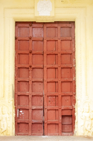 Strong ancient door in one of the temple at Mysore Palce  Editorial