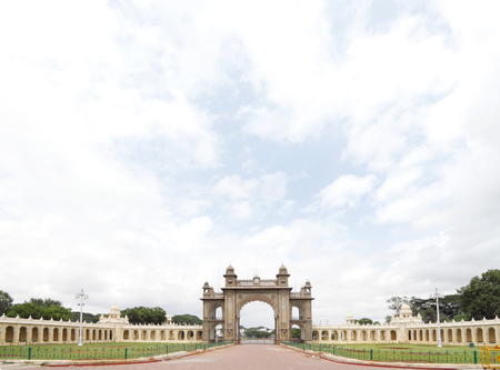 main gate: A broad view of the main gate of Mysore palace, photographed from East