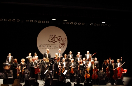 MANAMA, BAHRAIN - OCTOBER 24   Prague Chamber Orchestra, the only Orchestra to play without a conductor   performs on October 24, 2013 in Bahrain on the occasion of the 22nd Bahrain International music festival Editorial