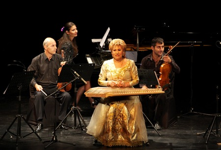 mesmerising: MANAMA, BAHRAIN - OCTOBER 01  Hasmik Leyloyan, the Queen of Qanun with her orchestra performs on October 01, 2012 in Bahrain on the occasion of the 21st Bahrain International music festival