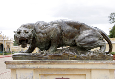 Beautiful bronze tiger at Mysore palace  photo