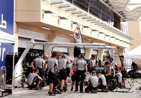 pit stop: SHAKIR, BAHRAIN - APRIL 03: Pit stop garage of team Mercedes on Thursday April 03, 2014, Formula 1 Gulf Air Bahrain Grand Prix 2014