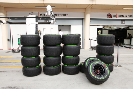 pit stop: SHAKIR, BAHRAIN - APRIL 03: Heap of Formula 1 vehicle tyres in front of Pit stop garage n Thursday April 03, 2014, Formula 1 Gulf Air  Bahrain Grand Prix 2014