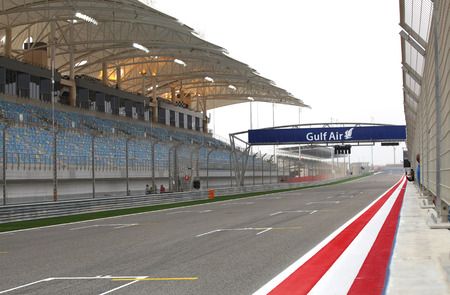 SHAKIR, BAHRAIN - APRIL 03: Start point of racing track in Bahrain Formula 1 International Circuit on Friday, April 03, 2014, Formula 1  Gulf Air Bahrain Grand Prix 2014