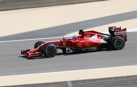 SHAKIR, BAHRAIN - APRIL 04: Fernando Alonso of Ferrari racing during practice session on Friday, April 04, 2014, Formula 1 Gulf Air Bahrain Grand Prix 2014