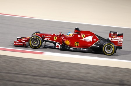 SHAKIR, BAHRAIN - APRIL 06: Fernando Alonso of Ferrari racing on Sunday final night race,   April 06, 2014, Formula 1 Gulf Air Bahrain Grand Prix 2014 Editorial