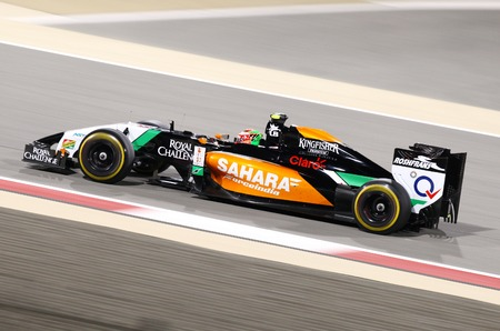 sergio: SHAKIR, BAHRAIN - APRIL 06: Sergio Perez of Force India-Mercedes racing on Sunday final night race,   April 06, 2014, Formula 1 Gulf Air Bahrain Grand Prix 2014