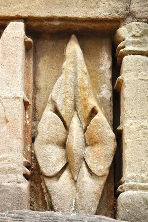 shakti: Diamond shape sandstone block with beautiful design Stock Photo