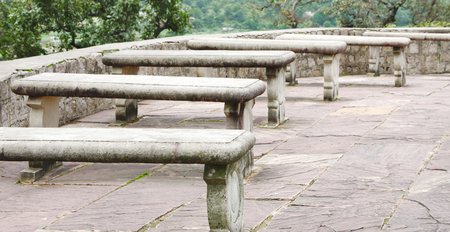 yogini: Stone slab benches outside the Chausat Yogini temple at Jabalpur, India Stock Photo