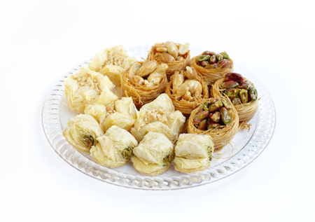 comida arabe: surtido tradicional árabe dulces Baklava Foto de archivo