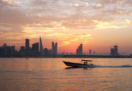a wonderful world: Fisherman way back home during sunset Stock Photo