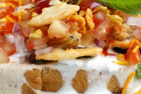 chaat: Closeup of Delicious Dahi papdi Chaat Stock Photo