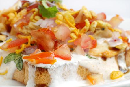 chaat: Ingredient of bread Dahi papdi Chaat