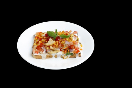 chaat: Delicious bread Dahi papdi Chaat isolated on black