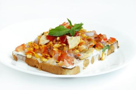chaat: Tasty bread Dahi papdi Chaat Stock Photo