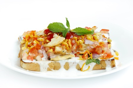 chaat: Bread topping with dahi & mixture