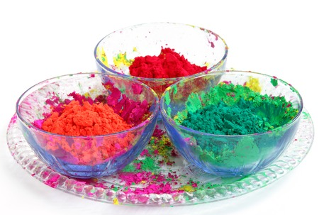 Bowl full of colorful Gulal photo