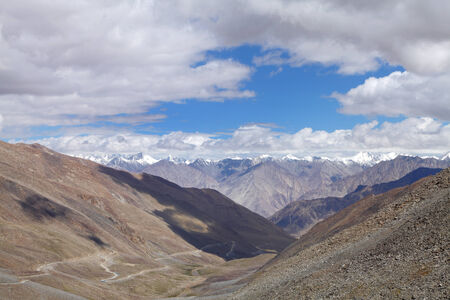 tethys: Beautiful valley and snowcapped Karakoram Mountains observed from Khardung La, HDR