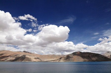 brackish water: Pangong lake and beautiful mountains