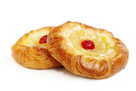 danish puff pastry: Pineapple Danish Pastries with cherry
