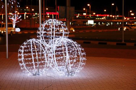 42nd: MUHARRAQ, BAHRAIN - DECEMBER 17: Beautiful illumination and decoration on 17 December, 2013 on the occasion of Bahrain 42nd National Day at Muharraq, Bahrain