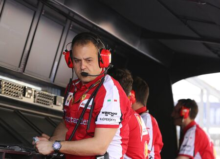 pit stop: The Pit box in front of Pit stop garage of team Ferrari on Thursday April 16 2015 Formula 1 Gulf Air Bahrain Grand Prix 2015 Editorial