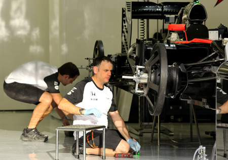 prix: Pit stop garage of team Mclaren on Thursday April 16 2015 Formula 1 Gulf Air Bahrain Grand Prix 2015