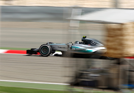 Nico Rosberg of Mercedes racing during practice session on Friday April 17 2015 Formula 1 Gulf Air Bahrain Grand Prix 2015