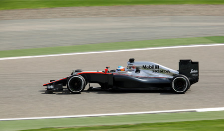 formula 1: Fernando Alonso of Mclaren racing during practice session on Friday April 17 2015 Formula 1 Gulf Air Bahrain Grand Prix 2015