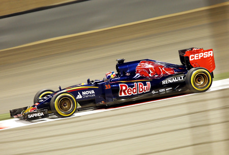 Max Verstappen of Toro Rosso racing during practice session on Friday April 17 2015 Formula 1 Gulf Air Bahrain Grand Prix 2015 Editorial