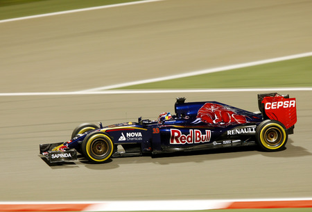 formula 1: Max Verstappen of Toro Rosso racing during practice session on Friday April 17 2015 Formula 1 Gulf Air Bahrain Grand Prix 2015 Editorial