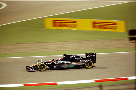formula 1: Nico Hulkenberg of Force India racing during Final day on Sunday April 19 2015 Formula 1 Gulf Air Bahrain Grand Prix 2015 Editorial