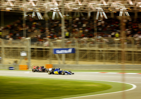 ericsson: Marcus Ericsson of Sauber  Max Verstappen of Toro Rosso racing during Final day on Sunday April 19 2015 Formula 1 Gulf Air Bahrain Grand Prix 2015