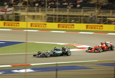 formula 1: Nico Rosberg of Mercedes racing during Final day on Sunday April 19 2015 Formula 1 Gulf Air Bahrain Grand Prix 2015 Editorial