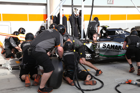 pit stop: Pit stop garage of team Force India on Thursday April 16 2015 Formula 1 Gulf Air Bahrain Grand Prix 2015 Editorial