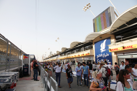 pit stop: Public visiting the Pit stop garages of Formula 1 teams on Thursday April 16 2015 Formula 1 Gulf Air Bahrain Grand Prix 2015
