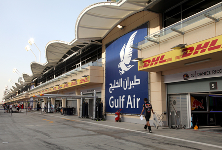 pit stop: Pit stop garages of Formula 1 teams on Thursday April 16 2015 Formula 1 Gulf Air Bahrain Grand Prix 2015