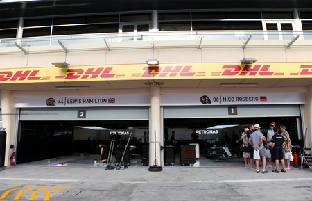pit stop: Pit stop garage of team Mercedes on Thursday April 16 2015 Formula 1 Gulf Air Bahrain Grand Prix 2015
