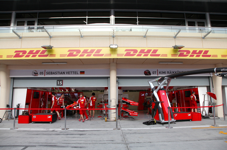 prix: Pit stop garage of team Ferrari on Thursday April 16 2015 Formula 1 Gulf Air Bahrain Grand Prix 2015