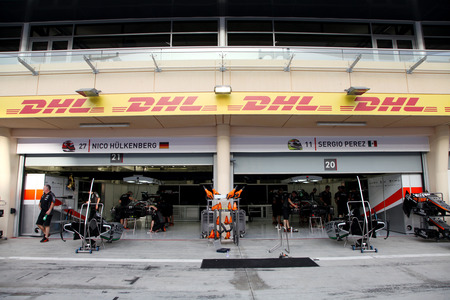 formula 1: Pit stop garage of team Force India on Thursday April 16 2015 Formula 1 Gulf Air Bahrain Grand Prix 2015 Editorial