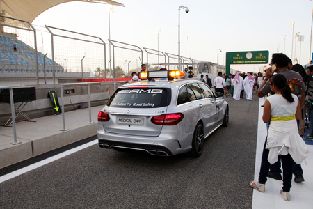 pit stop: Medical car at the venue of Pit stop garages of Formula 1 teams on Thursday April 16 2015 Formula 1 Gulf Air Bahrain Grand Prix 2015
