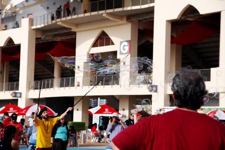 dr: Dr bubble performs at Formula 1 village vending area  entertainment on Friday April 17 2015 Formula 1 Gulf Air Bahrain Grand Prix 2015 Editorial
